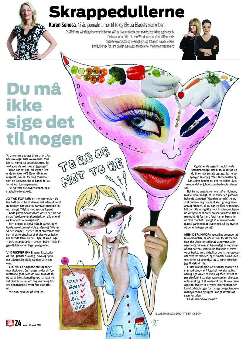 Du må ikke sige det til nogen. Illustration til Skrappedullerne, Ekstra Bladet. Illustrator Birgitte Eriksson