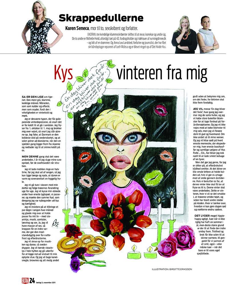 Hele foråret alene. Illustration til Skrappedullerne, Ekstra Bladet. Illustrator Birgitte Eriksson